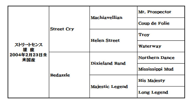 ストリートセンス血統表